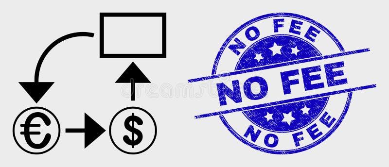 Icona e lerciume di schema di conversione di valuta del colpo di vettore nessuna filigrana della tassa illustrazione vettoriale