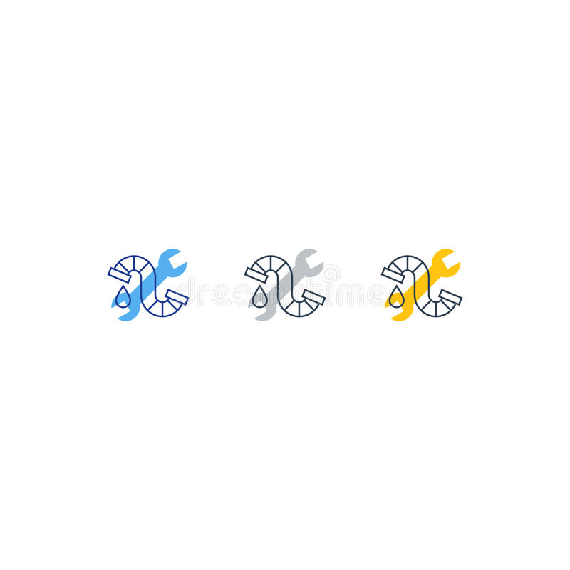 Icona e logo dell'impianto idraulico della goccia di acqua, del tubo e della chiave illustrazione di stock