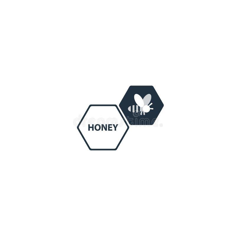 Icona e logo piani d'avanguardia dell'ape del miele illustrazione di stock