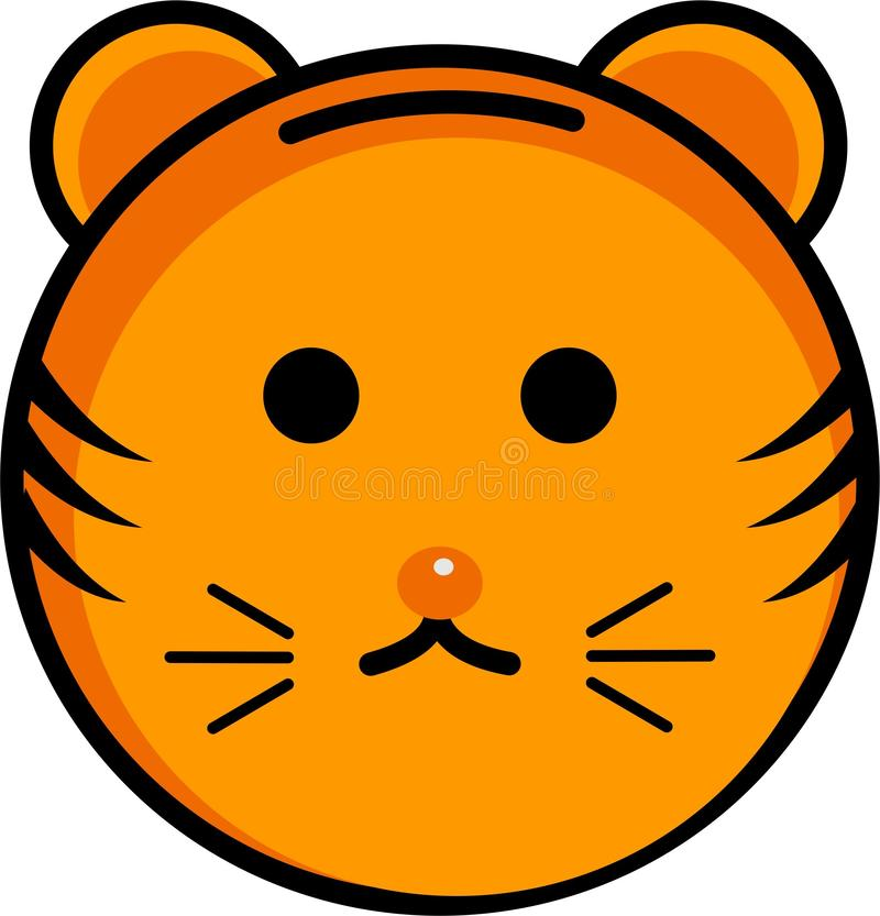 Icona e smiley svegli della tigre royalty illustrazione gratis