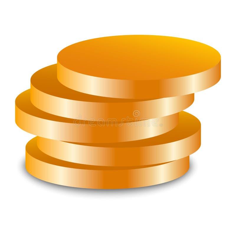 Icona ebrea della moneta dell'oro, stile realistico illustrazione vettoriale