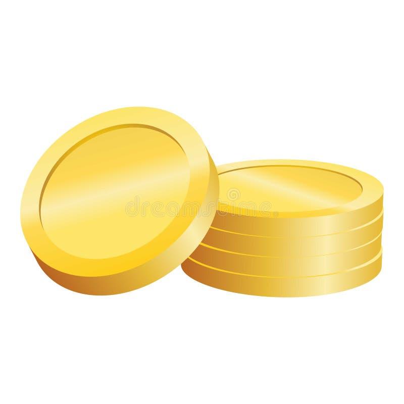 Icona ebrea della moneta dell'oro, stile realistico illustrazione di stock