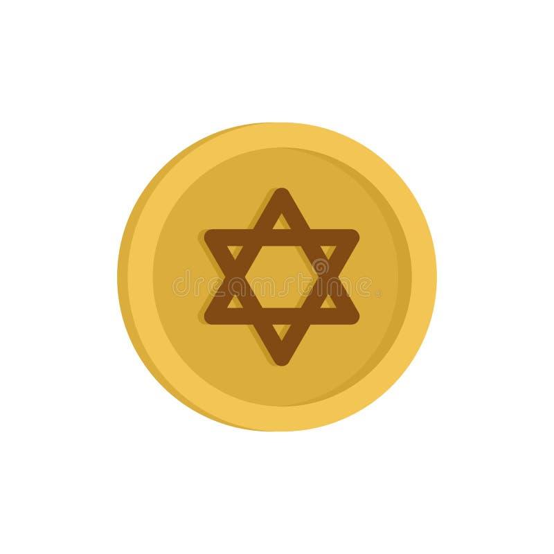 Icona ebrea della moneta di oro, stile piano illustrazione di stock