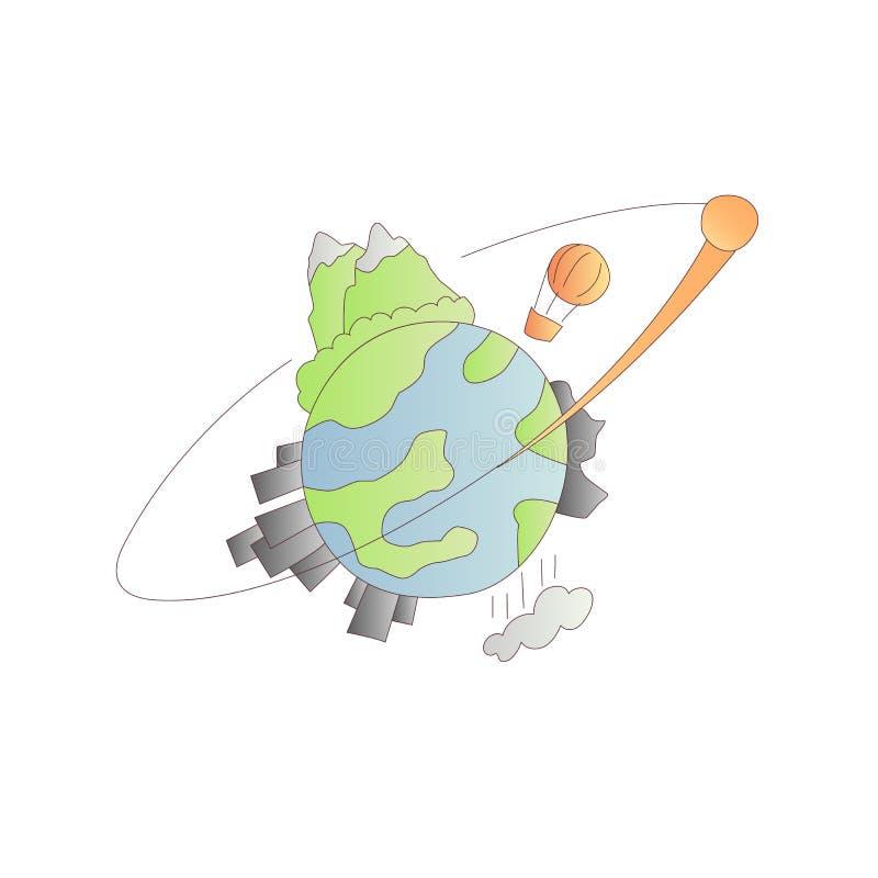Icona ed illustrazione del fumetto di vettore del pianeta Terra Pianeta Terra con la montagna, il legno, le città, le rocce ed il illustrazione di stock