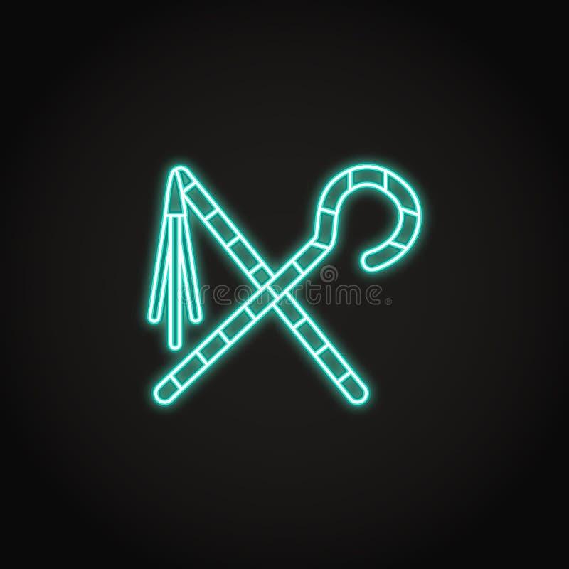 Icona egiziana del correggiato e del truffatore nello stile al neon d'ardore illustrazione di stock