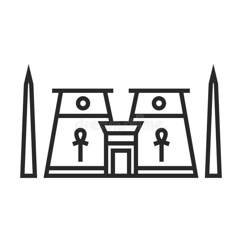 Icona egiziana del tempio illustrazione vettoriale