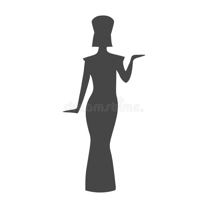 Icona egiziana della siluetta, regina Nefertiti, siluetta di Cleopatra illustrazione vettoriale