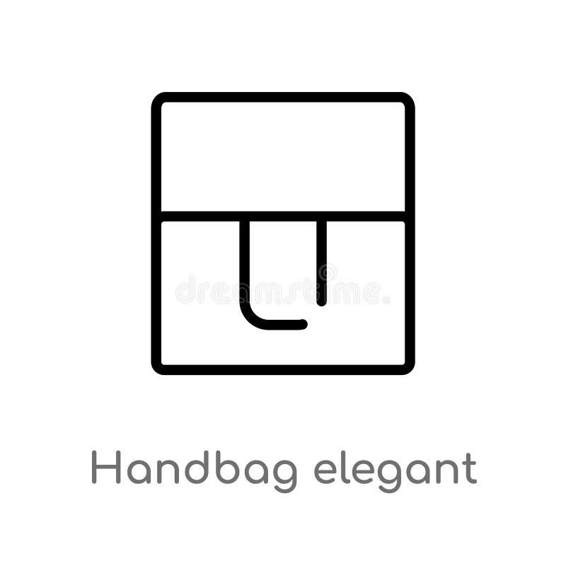 icona elegante di de vector della borsa del profilo linea semplice nera isolata illustrazione dell'elemento dal concetto di modo  illustrazione vettoriale