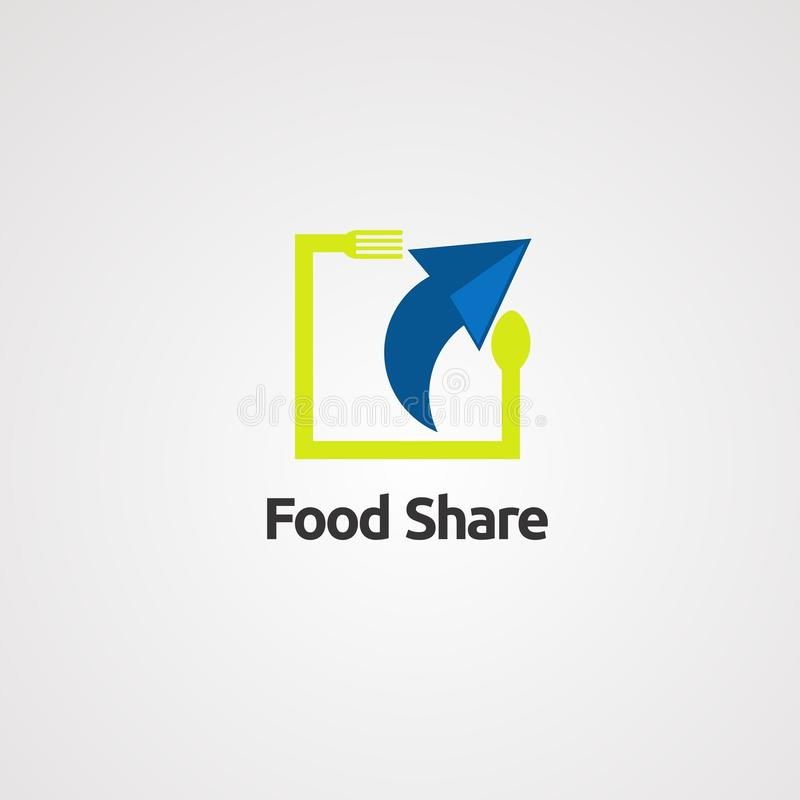 Icona, elemento e modello di vettore di logo della parte dell'alimento per la società illustrazione di stock