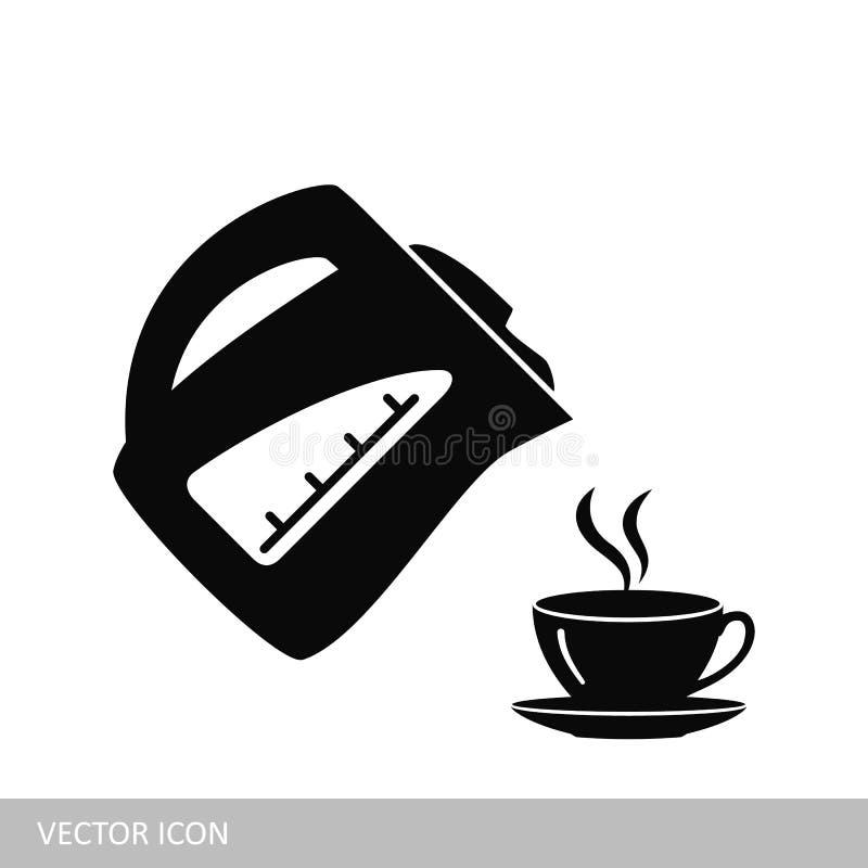 Icona elettrica di vettore della tazza e del bollitore royalty illustrazione gratis