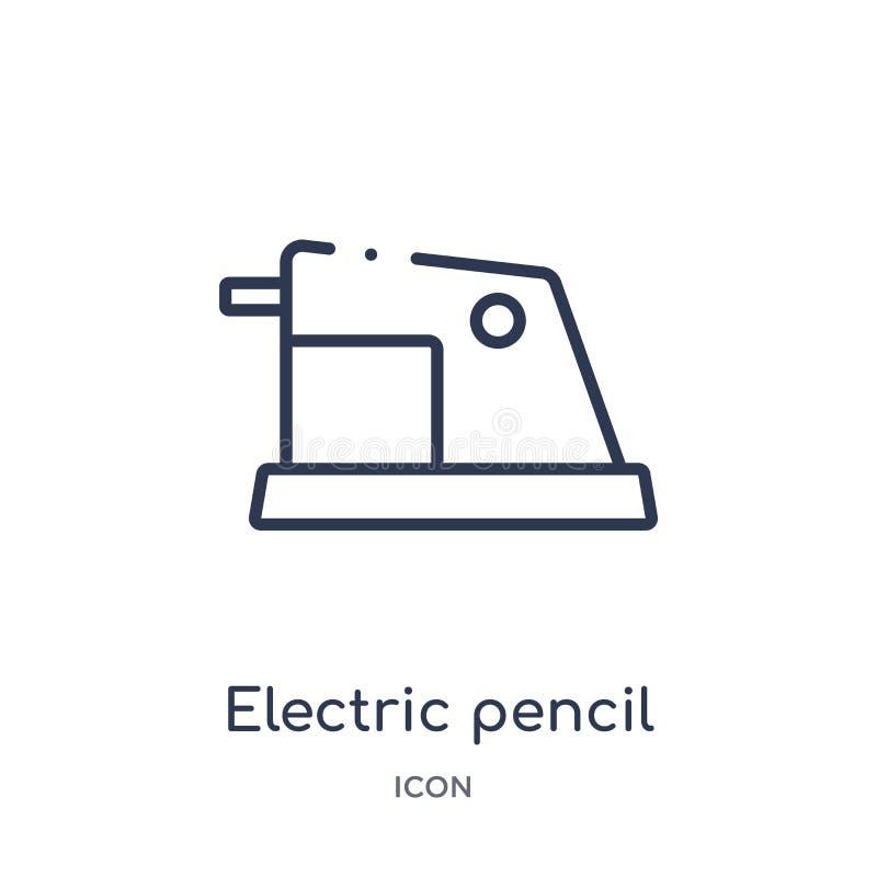 Icona elettrica lineare del temperamatite dalla raccolta del profilo degli apparecchi elettronici Linea sottile vettore elettrico illustrazione vettoriale