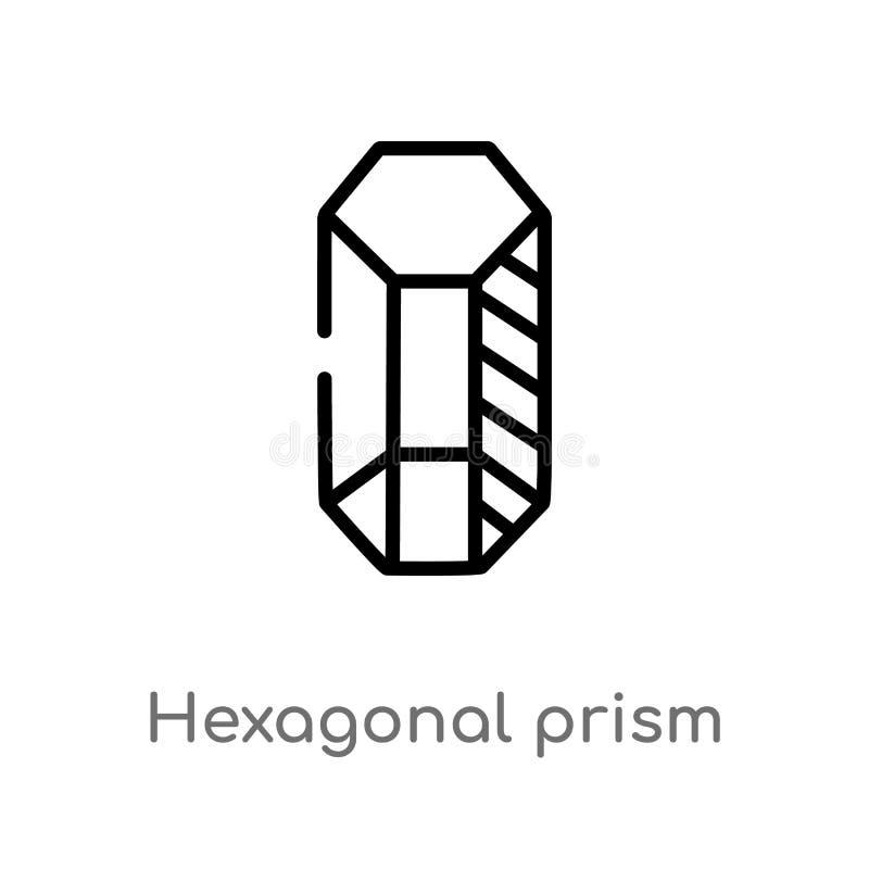 icona esagonale di vettore del prisma del profilo linea semplice nera isolata illustrazione dell'elemento dal concetto di forme C illustrazione vettoriale
