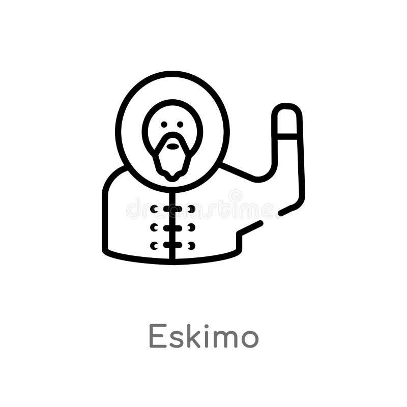 icona eschimese di vettore del profilo linea semplice nera isolata illustrazione dell'elemento dal concetto di smiley eschimese e royalty illustrazione gratis