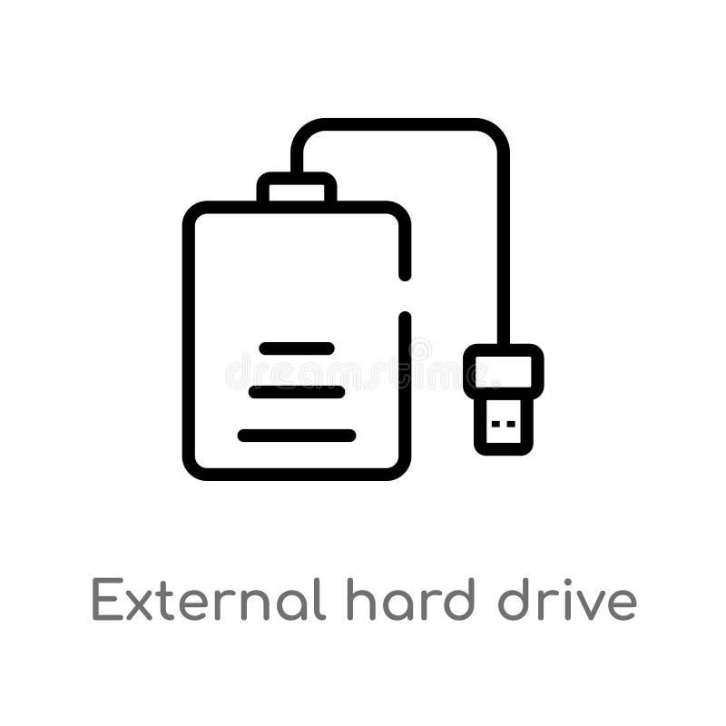 icona esterna di vettore del disco rigido del profilo r Vettore editabile royalty illustrazione gratis