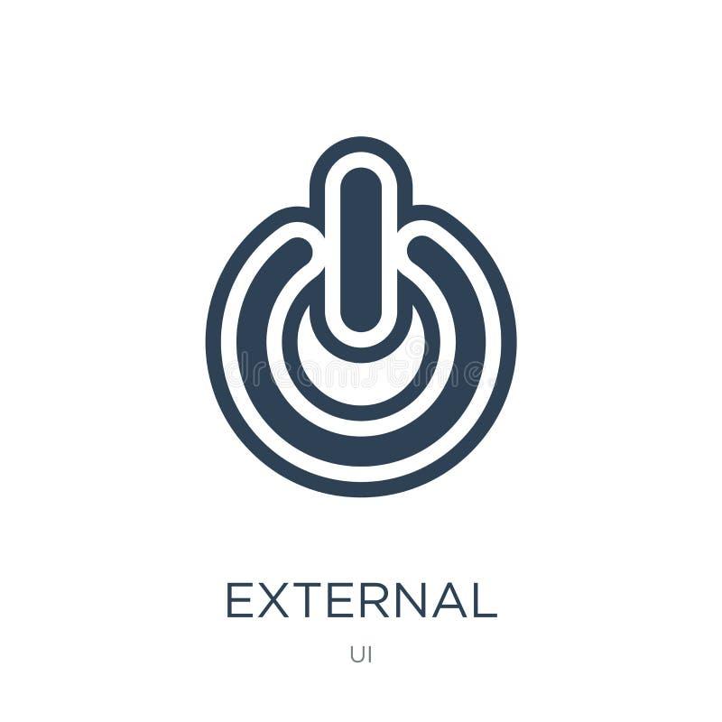 icona esterna nello stile d'avanguardia di progettazione icona esterna isolata su fondo bianco piano semplice e moderno dell'icon illustrazione di stock