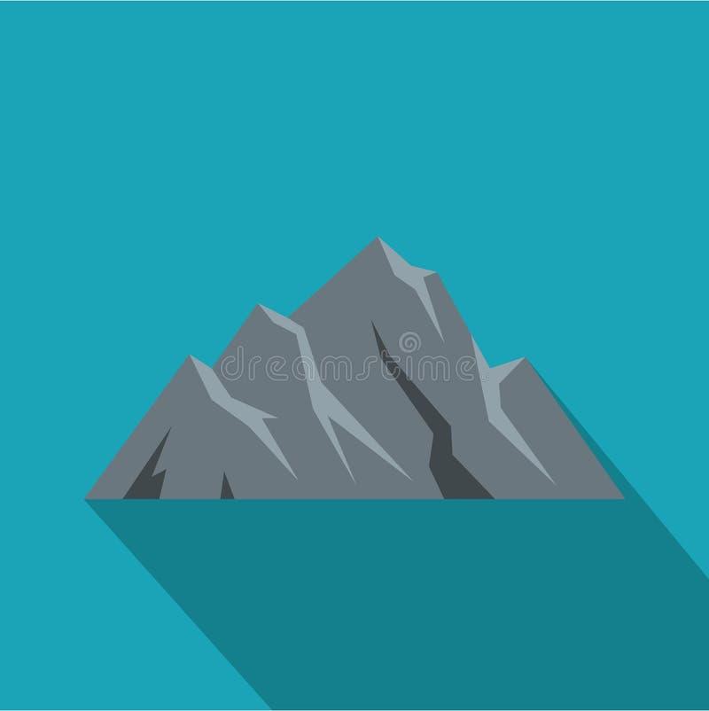 Icona estrema della montagna, stile piano illustrazione di stock