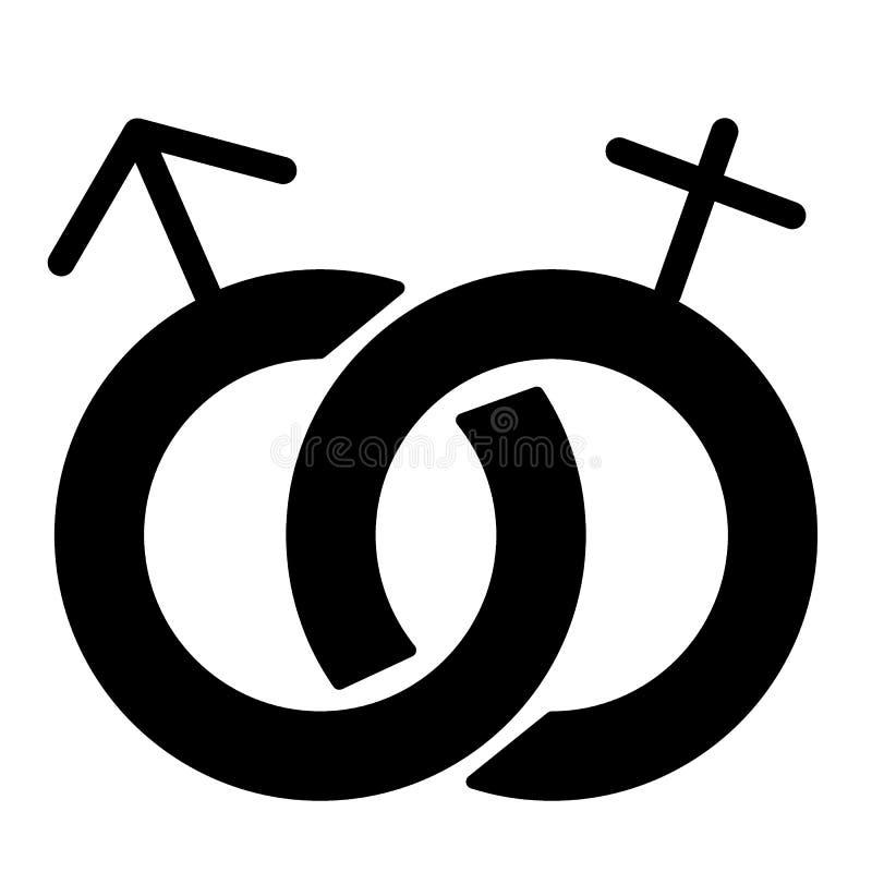 Icona eterosessuale del solido di simbolo Illustrazione di vettore del segno di genere isolata su bianco Stile maschio e femminil illustrazione di stock