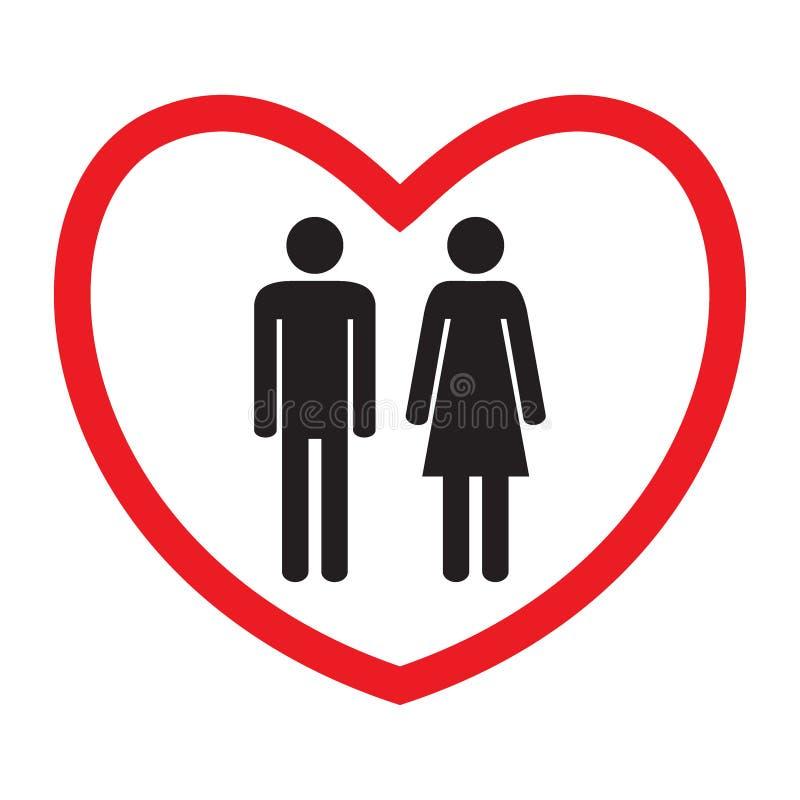 Icona eterosessuale di amore Uomo e donna illustrazione vettoriale