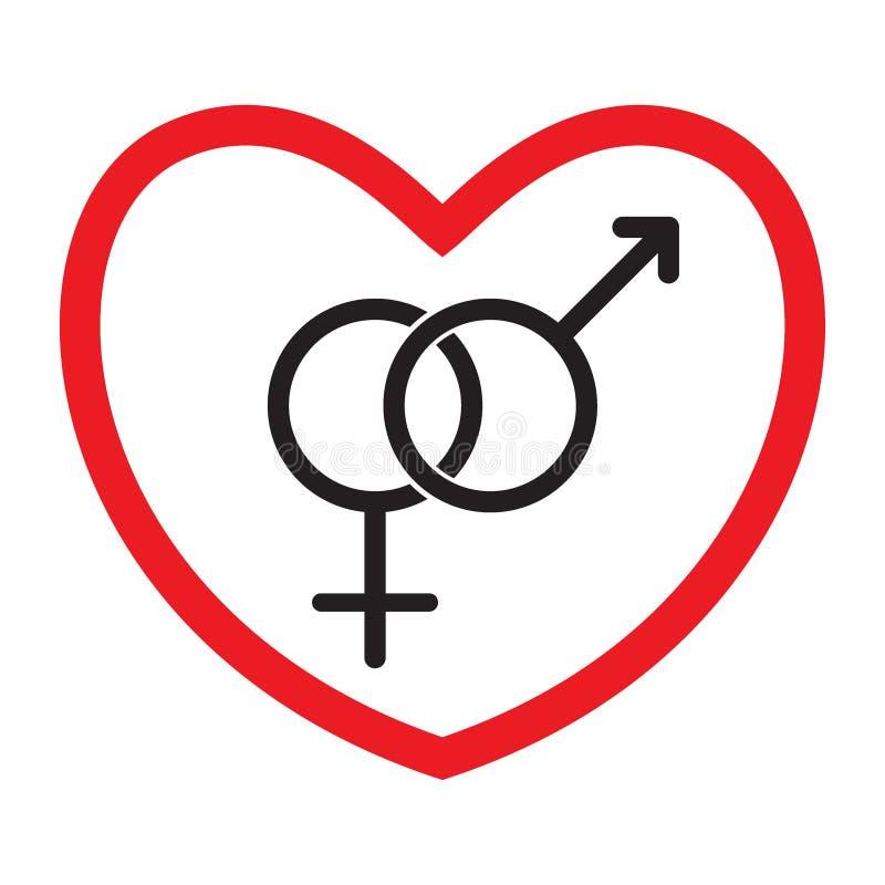 Icona eterosessuale di amore Uomo e donna illustrazione di stock