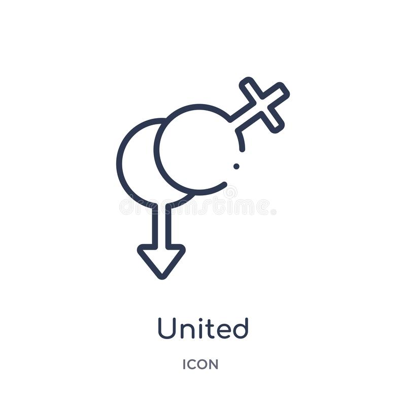 Icona eterosessuale unita lineare dalla raccolta medica del profilo La linea sottile ha unito l'icona eterosessuale isolata su fo royalty illustrazione gratis