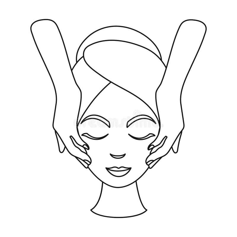Icona facciale di massaggio nello stile del profilo isolata su fondo bianco Illustrazione di vettore delle azione di simbolo di c illustrazione vettoriale