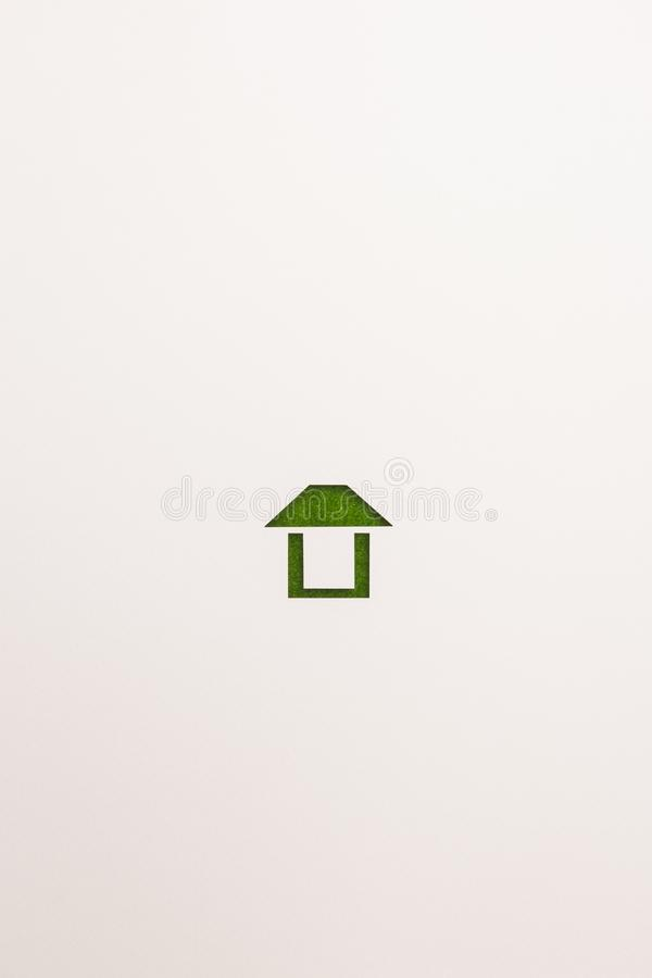 Icona facile della casa del velluto verde su fondo bianco fotografie stock libere da diritti