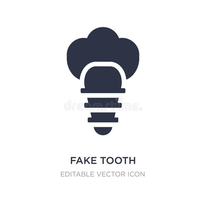 icona falsa del dente su fondo bianco Illustrazione semplice dell'elemento dal concetto del dentista illustrazione vettoriale