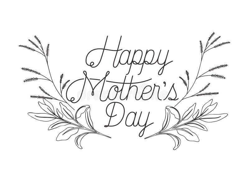 Icona felice dell'etichetta di giorno di madri illustrazione vettoriale