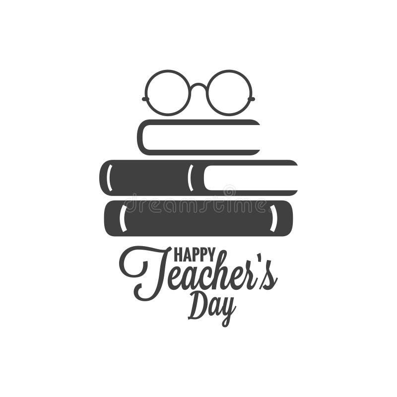 Icona felice di giorno degli insegnanti Vetri e logo del libro su fondo bianco