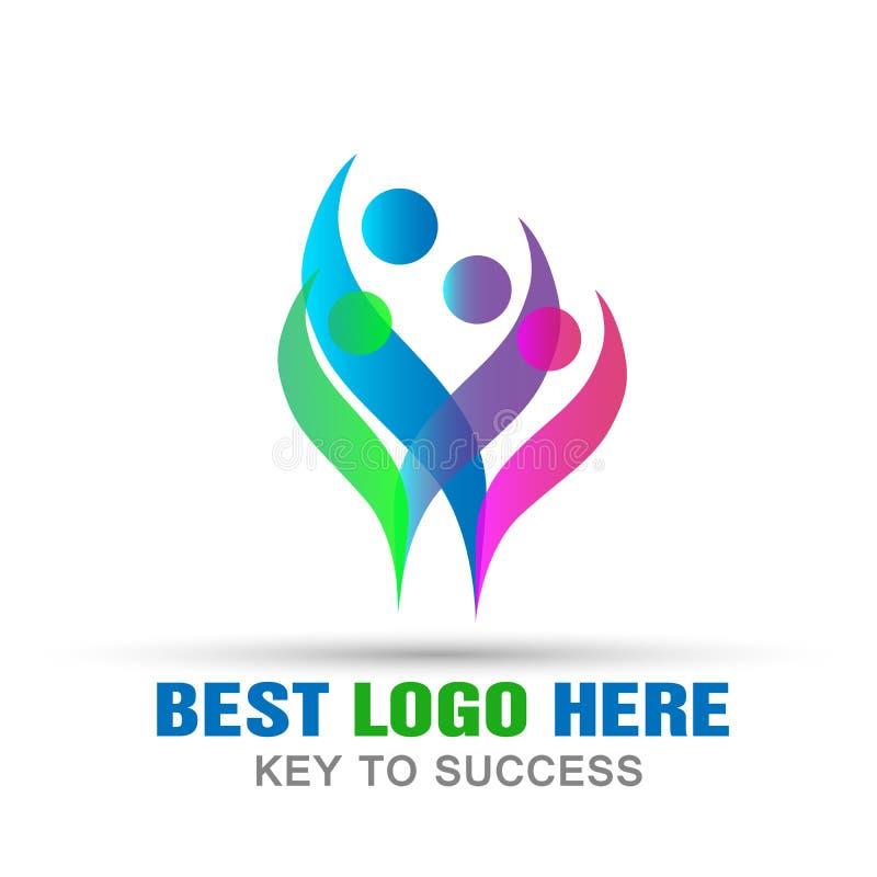 Icona felice di logo di concetto del lavoro di gruppo di celebrazione di cura del sindacato del cuore di amore di logo della fami illustrazione vettoriale