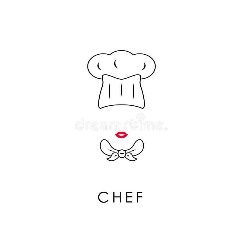 Icona femminile del cuoco unico illustrazione vettoriale