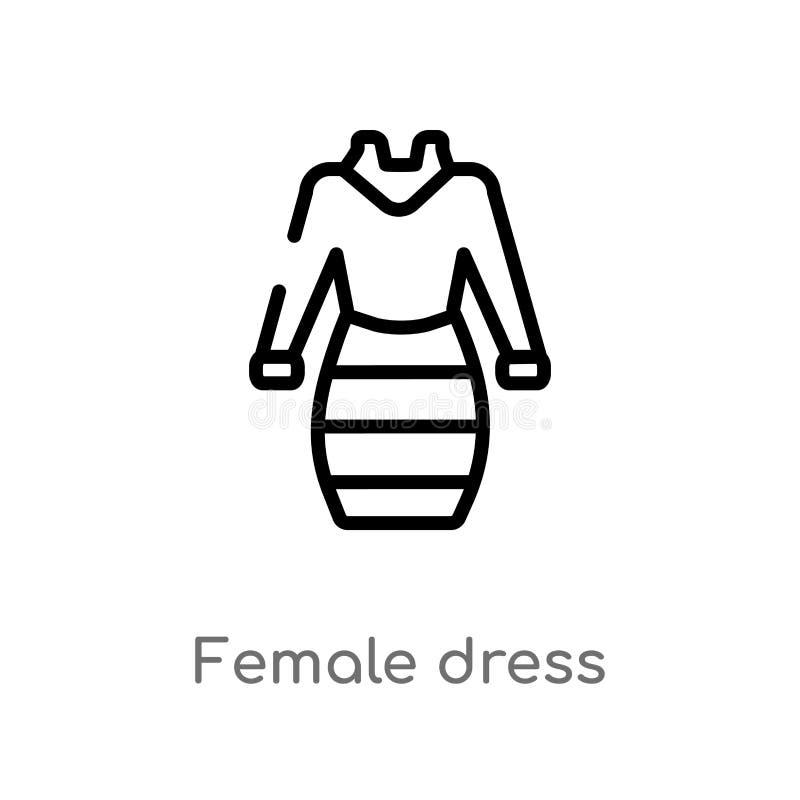 icona femminile di vettore del vestito dal profilo linea semplice nera isolata illustrazione dell'elemento dal concetto dell'abbi illustrazione di stock