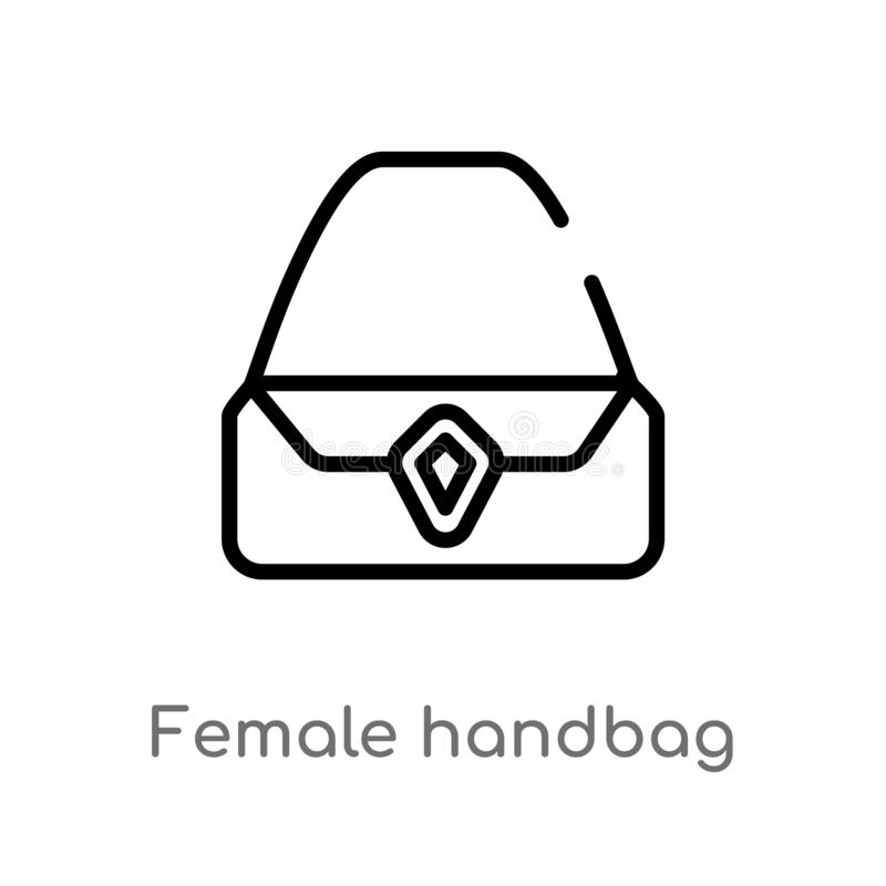 icona femminile di vettore della borsa del profilo linea semplice nera isolata illustrazione dell'elemento dal concetto dell'abbi illustrazione di stock