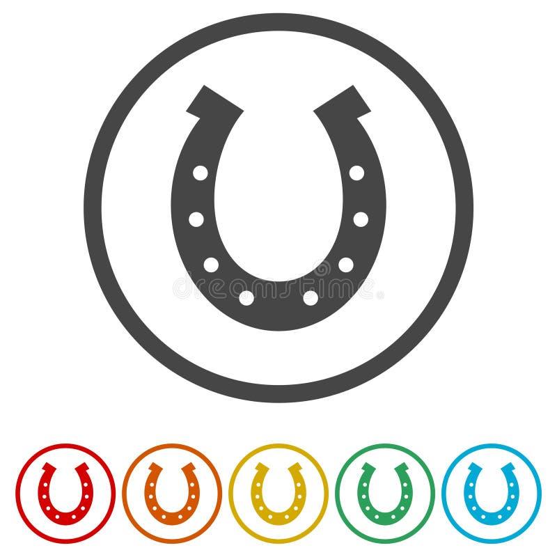 Icona a ferro di cavallo, 6 colori inclusi illustrazione di stock