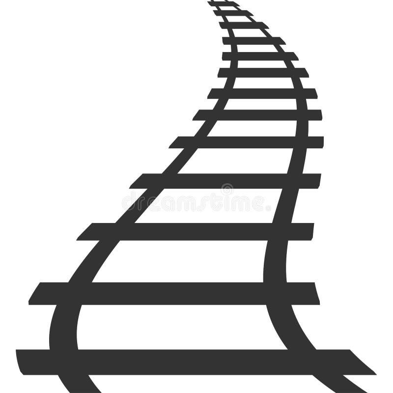 Icona ferroviaria dell'itinerario di transito della ferrovia della pista locomotiva della siluetta immagine stock libera da diritti