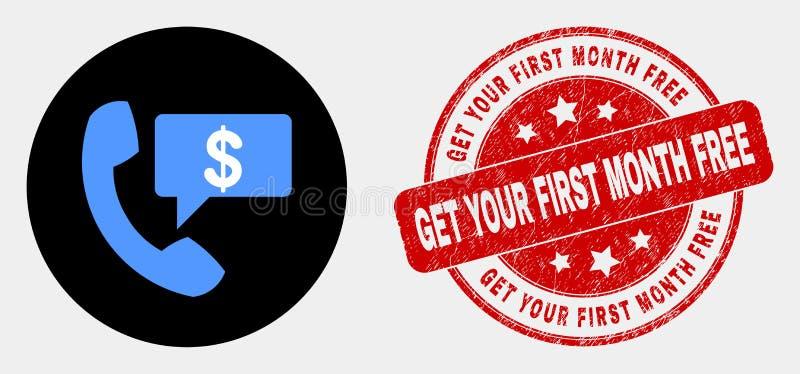 Icona finanziaria del messaggio di telefono di vettore ed affliggere per ottenere la vostra filigrana libera di primo mese illustrazione di stock