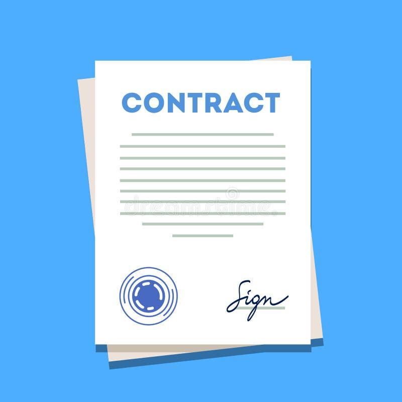 Icona firmata e timbrata della carta del contratto illustrazione vettoriale