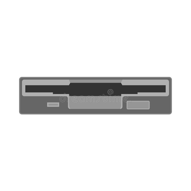 Icona floscia di vettore di dati del disco dell'azionamento dell'unità pianamente Retro tecnologia di hardware Vecchio elemento d illustrazione vettoriale
