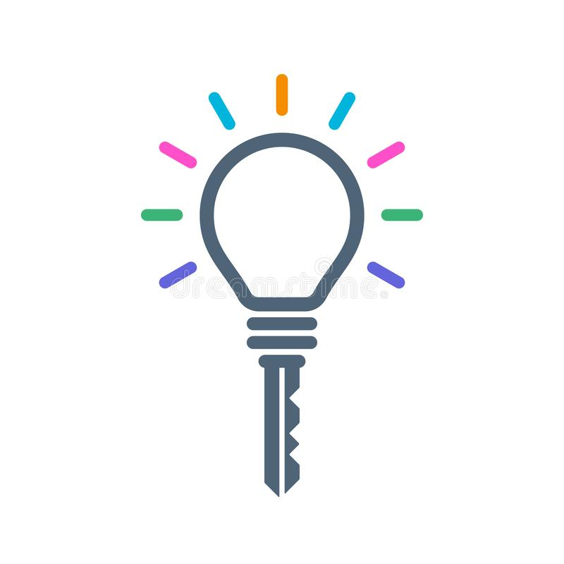 Icona a forma di chiave della lampadina illustrazione vettoriale