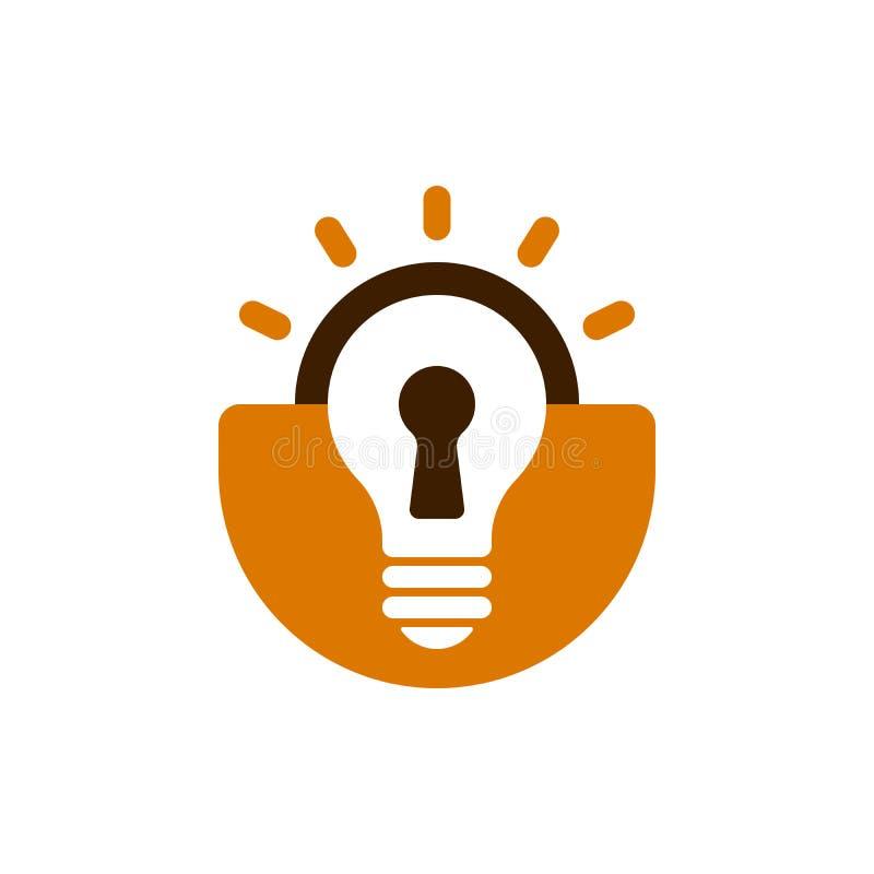 Icona a forma di della lampadina del lucchetto royalty illustrazione gratis