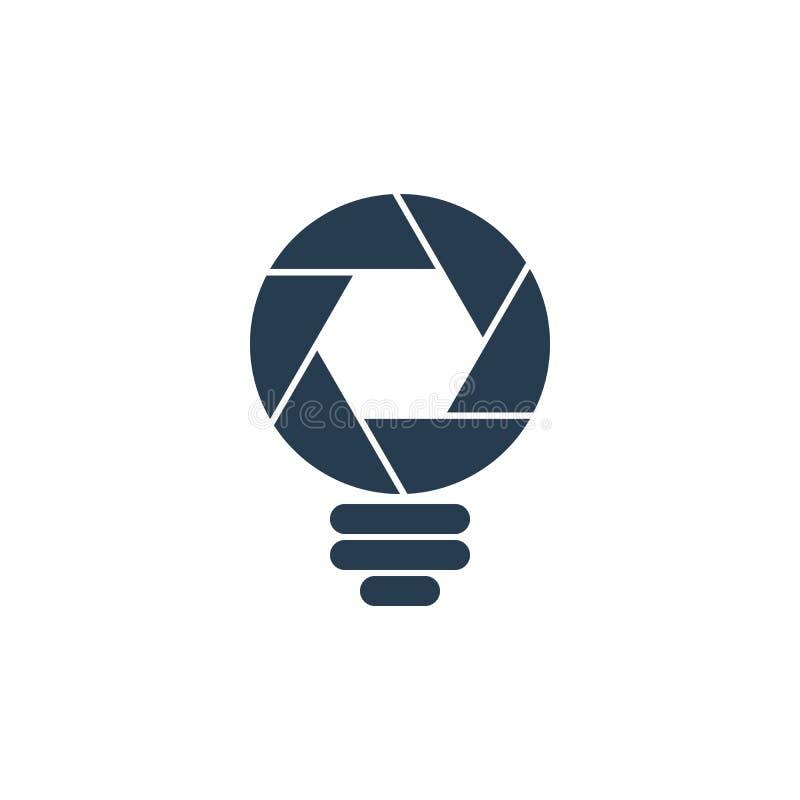 Icona a forma di della lampadina dell'otturatore illustrazione vettoriale