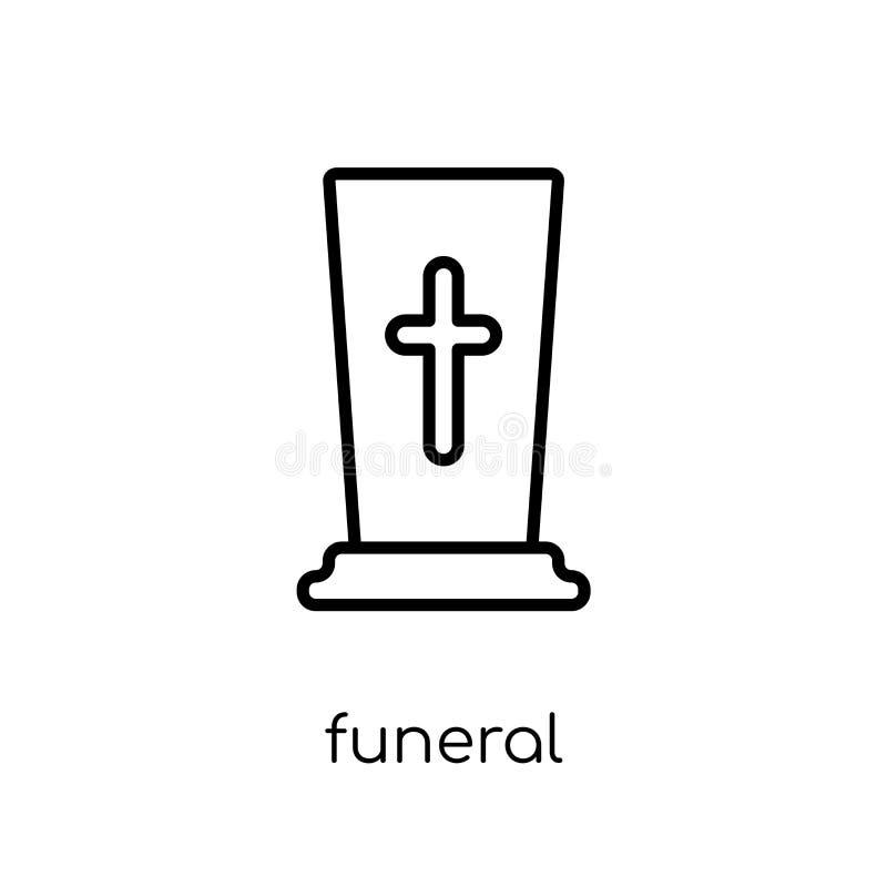Icona funerea Icona funerea di vettore lineare piano moderno d'avanguardia su w illustrazione di stock