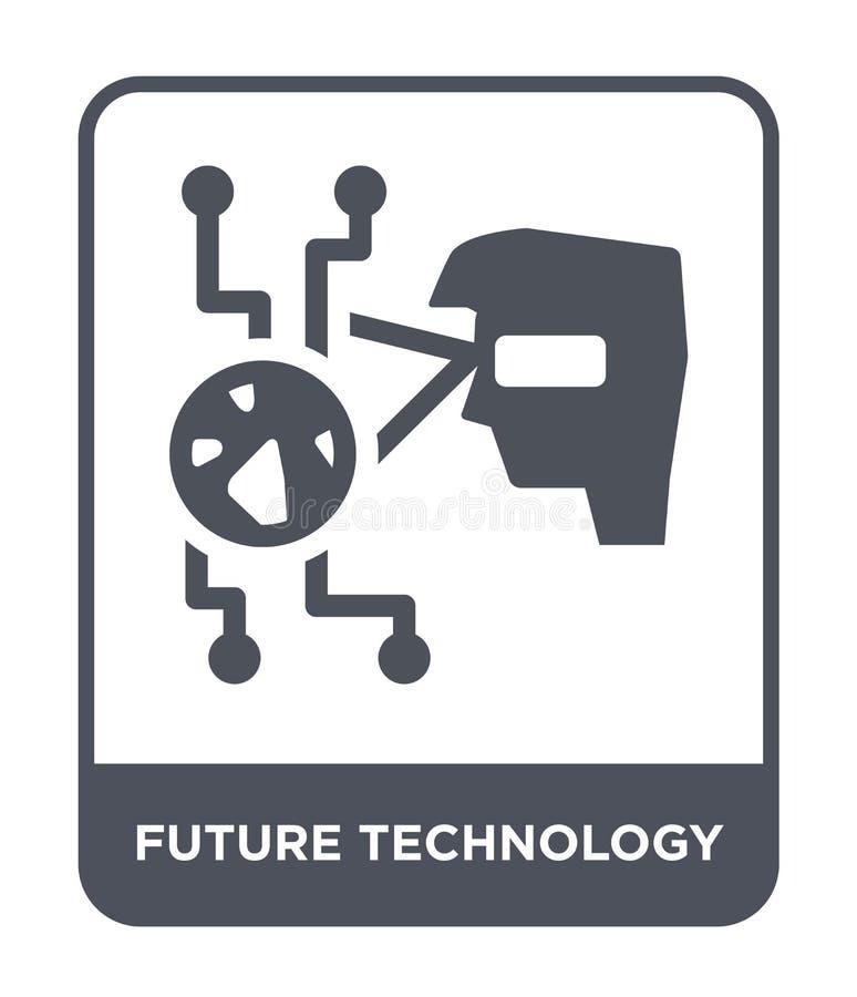 icona futura di tecnologia nello stile d'avanguardia di progettazione icona futura di tecnologia isolata su fondo bianco icona fu illustrazione vettoriale