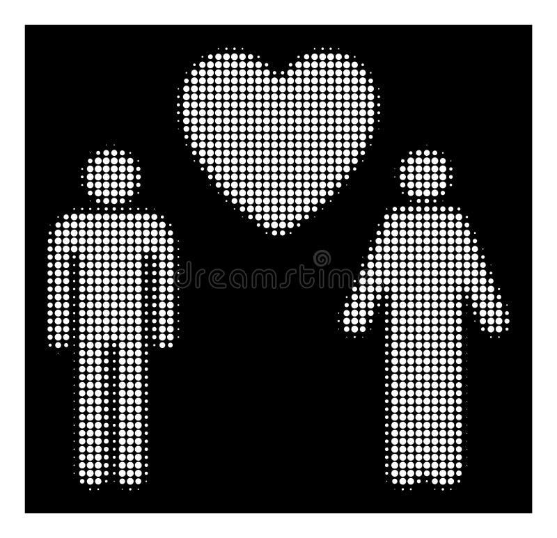 Icona gay di semitono bianca degli amanti illustrazione vettoriale