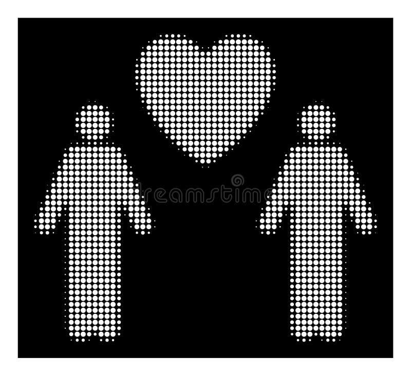 Icona gay di semitono bianca degli amanti illustrazione di stock