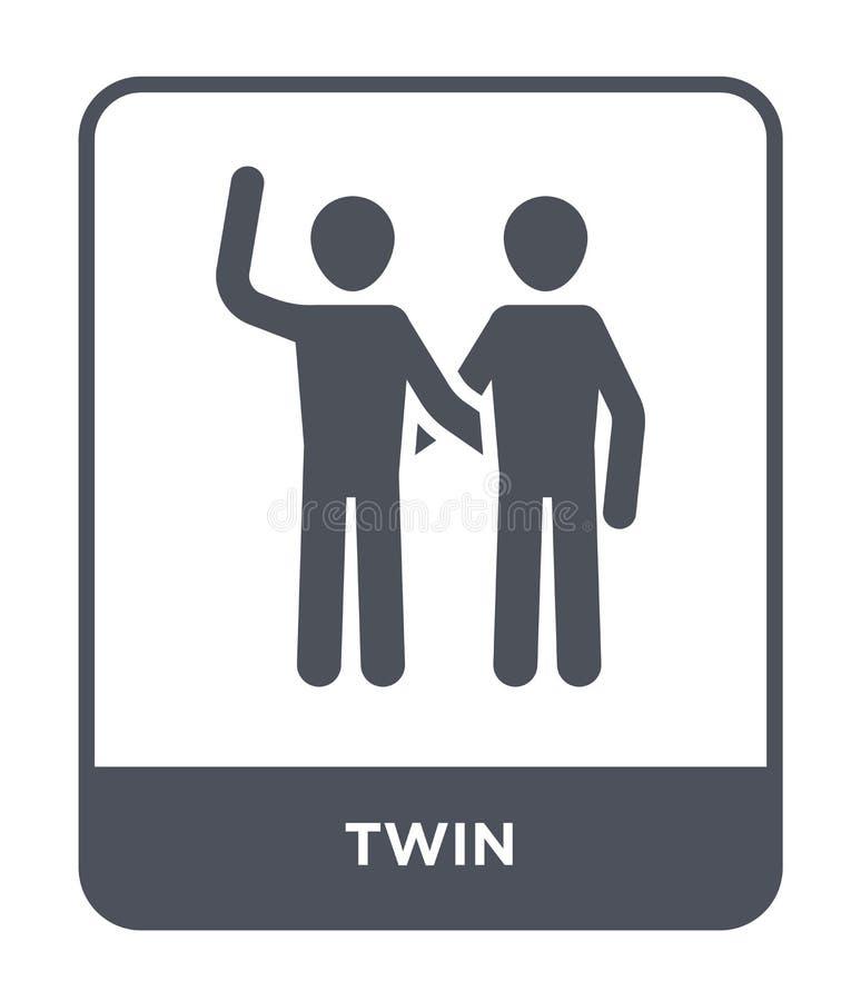 icona gemellata nello stile d'avanguardia di progettazione icona gemellata isolata su fondo bianco simbolo piano semplice e moder royalty illustrazione gratis