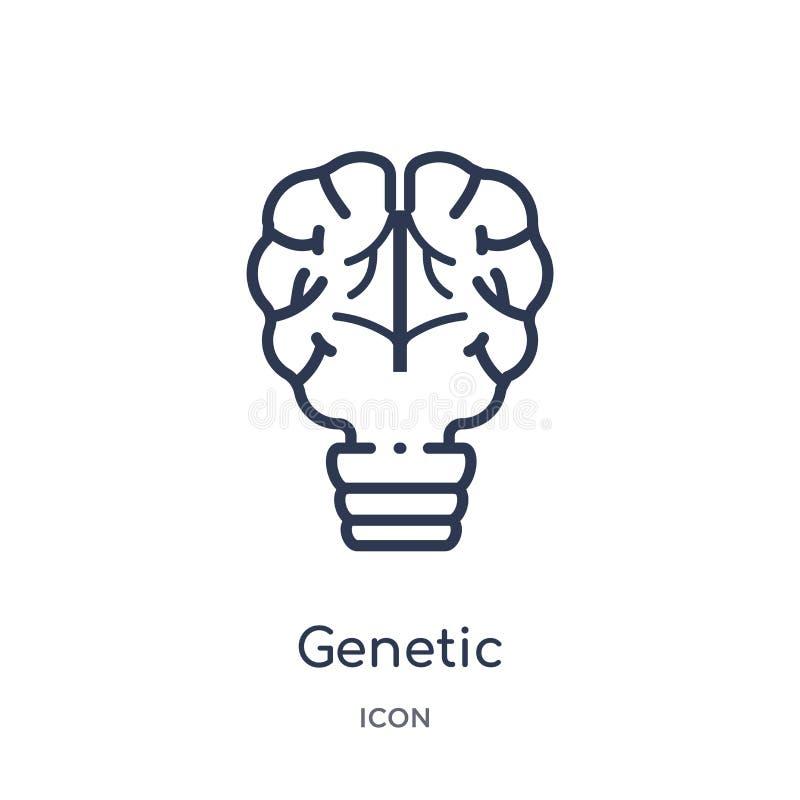 Icona genetica lineare di modifica dal intellegence artificiale e dalla raccolta futura del profilo di tecnologia Linea sottile g illustrazione di stock