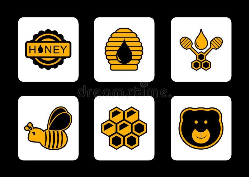 Icona gialla del miele su fondo nero illustrazione di stock
