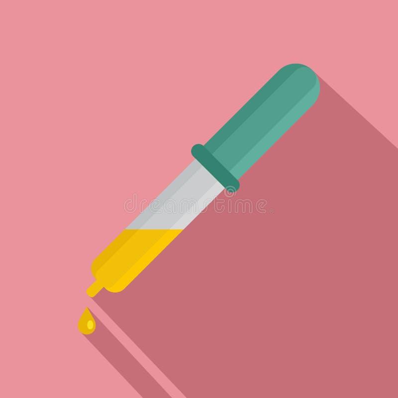 Icona gialla di goccia della pipetta, stile piano illustrazione vettoriale