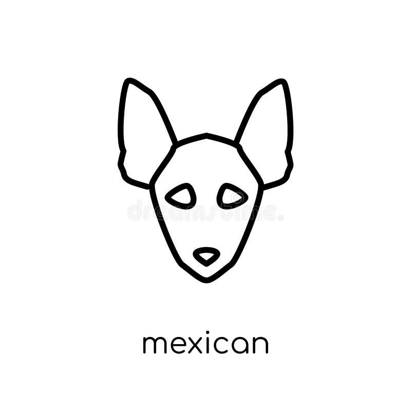 Icona glabra messicana del cane del cane Vettore lineare piano moderno d'avanguardia royalty illustrazione gratis